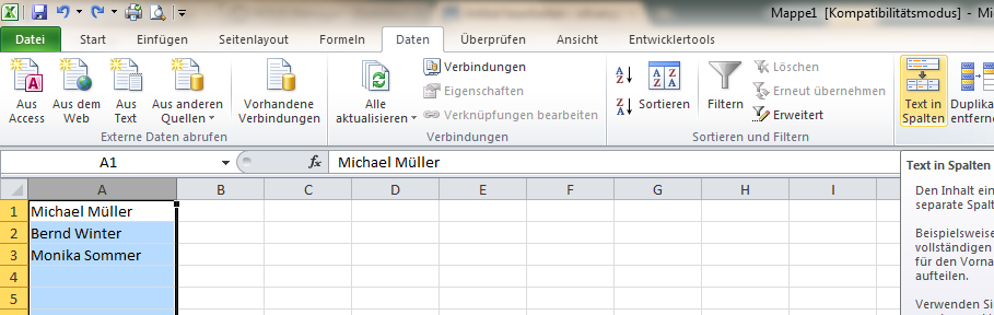 Excel Arbeitsblatt Trennen : Excel vorname und nachname trennen olivergast