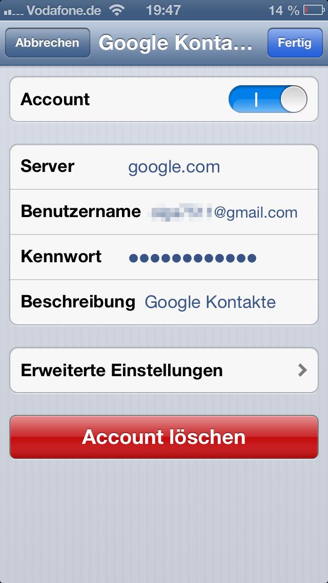Google CardDAV Einstellungen