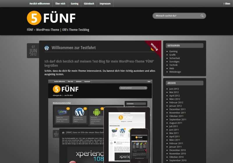 WordPress Theme 'FUENF'