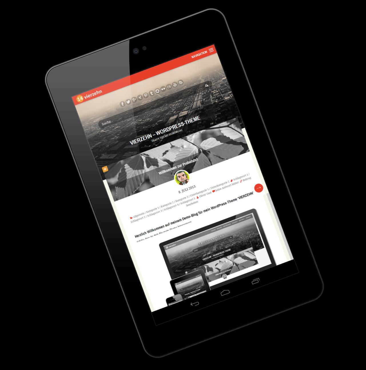 WordPress Theme 'VIERZEHN' auf Tablet