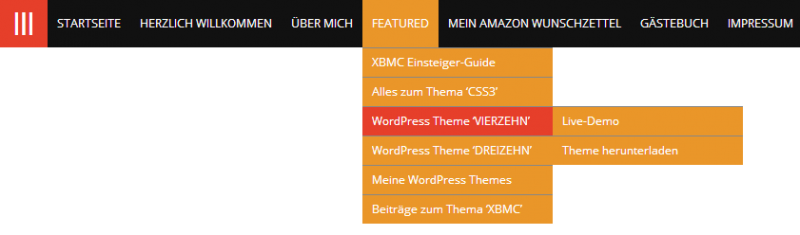 Beispiel für ein individuelles WordPress-Menü