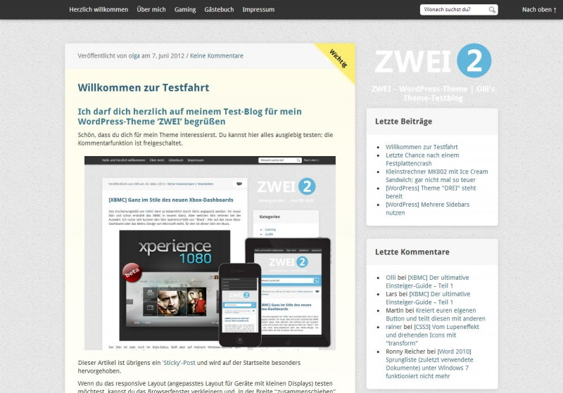 WordPress Theme 'ZWEI'