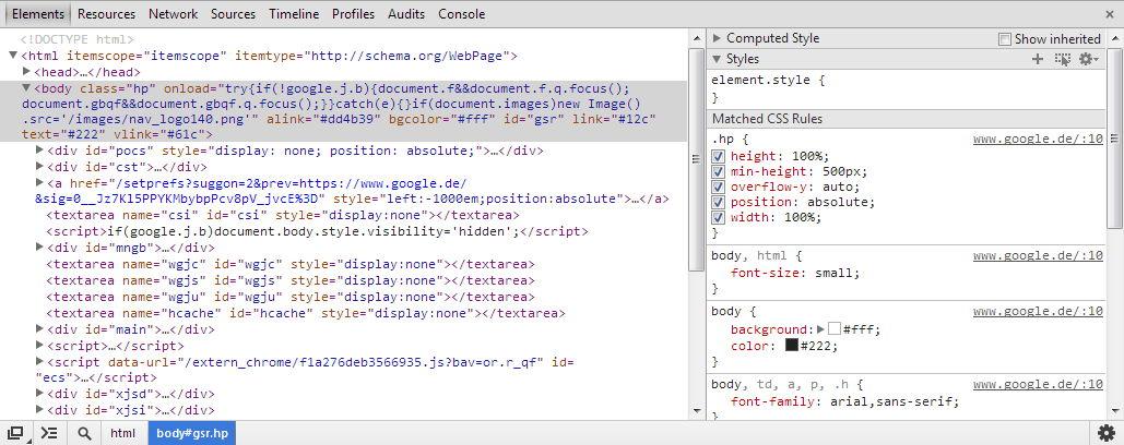 Aufbau des Entwicklertools für Google Chrome