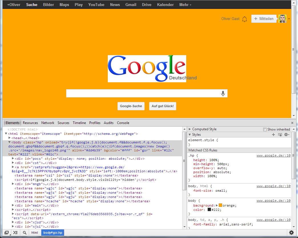 Google in orange