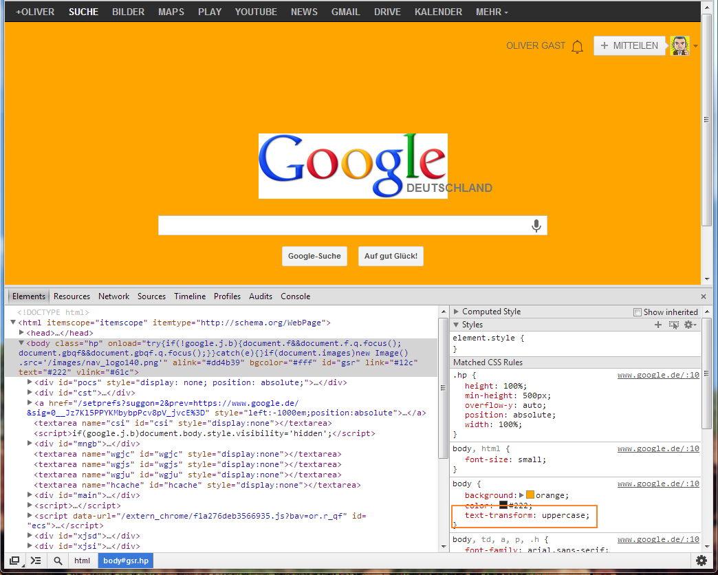 Google mit Großbuchstaben