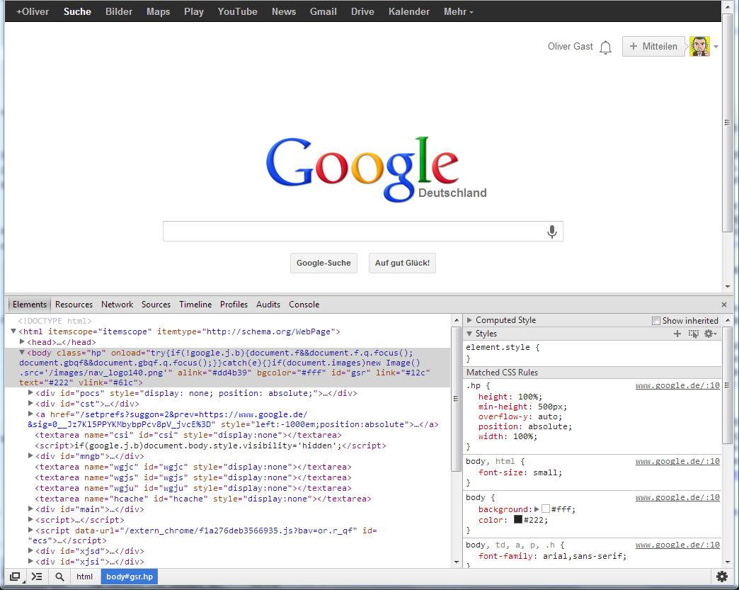 Aufbau der Google-Webseite