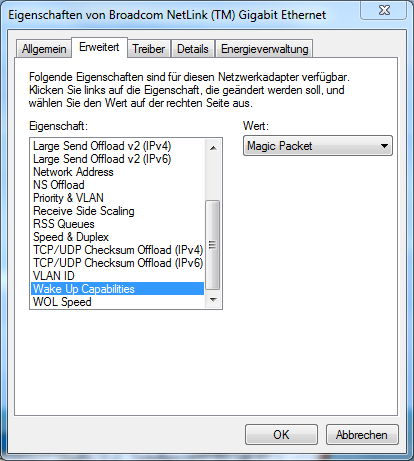 Erweiterte Eigenschaften des LAN-Controllers