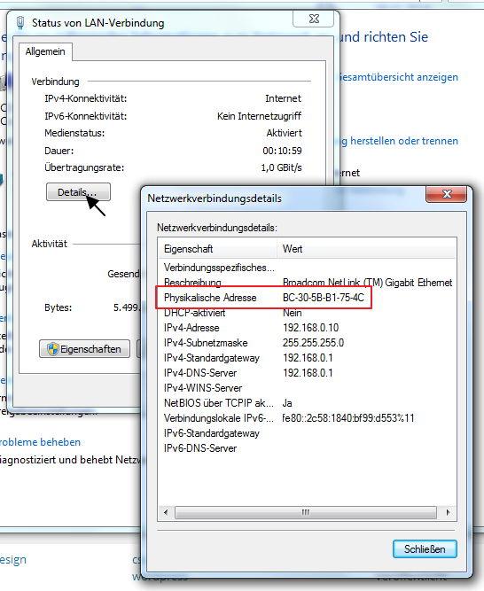 MAC-Adresse des LAN-Adapters