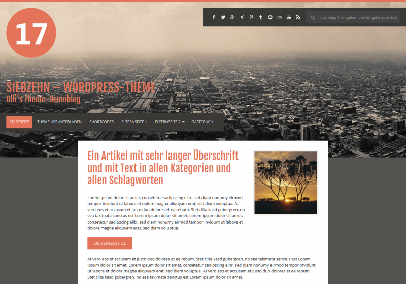 WordPress Theme 'SIEBZEHN'