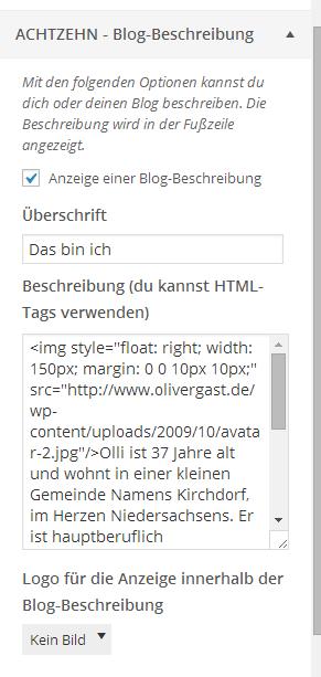 Blog-Beschreibung in den Theme-Optionen