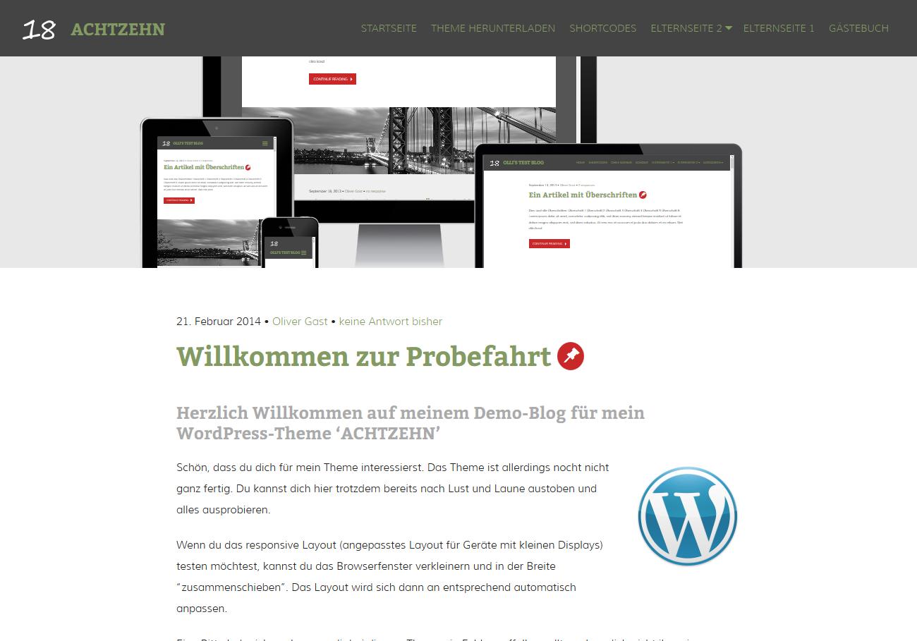 WordPress Theme 'ACHTZEHN'