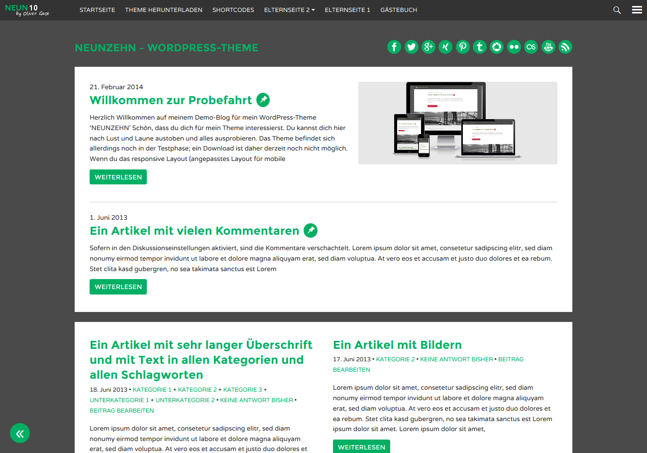 WordPress Theme 'NEUNZEHN'