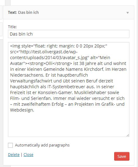 WordPress Text-Sidebar-Widget mit Inhalt
