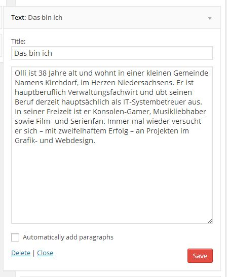 WordPress Text-Sidebar-Widget mit Vorstellungstext