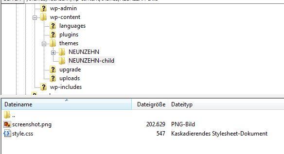 Das Child-Theme-Verzeichnis mit den angepassten Dateien