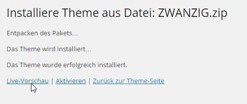 WordPress Theme-Installation
