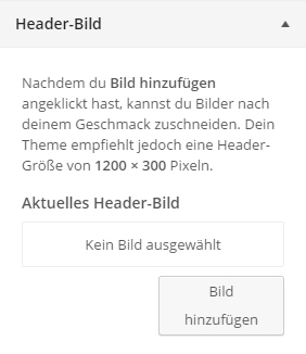 WordPress Theme-Customizer Kopfzeilenbild einstellen