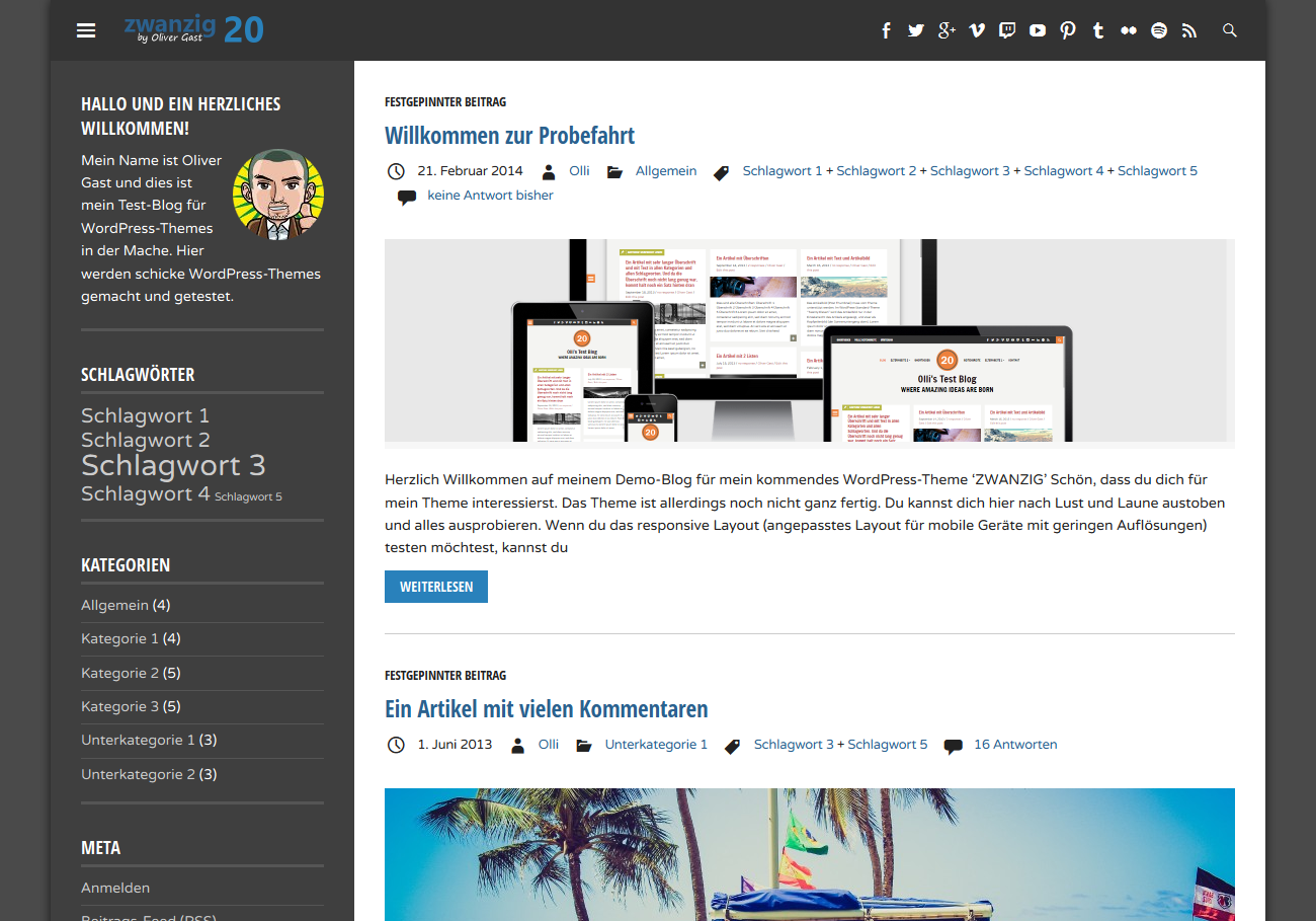WordPress Theme 'ZWANZIG'